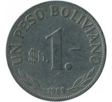Боливия 1 песо 1968-1980