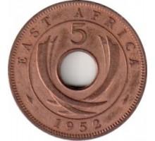 Британская Восточная Африка 5 центов 1952