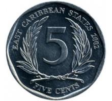 Восточные Карибы 5 центов 2002-2015