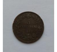 Италия 5 чентезимо 1862