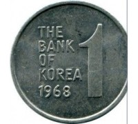 Южная Корея 1 вона 1968-1982
