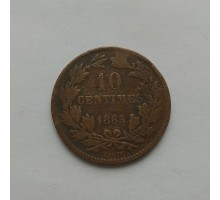 Люксембург 10 сантимов 1865 А