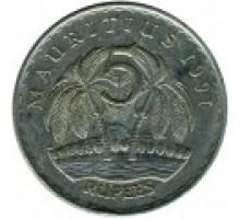 Маврикий 5 рупий 1987-2012