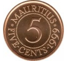 Маврикий 5 центов 1987-2012