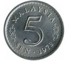 Малайзия 5 сенов 1967 - 1988