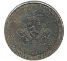 Остров Мэн 1 крона 1977. 25 лет правления Королевы Елизаветы II (герб)