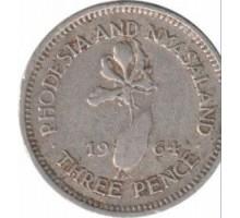 Родезия и Ньясаленд 3 пенса 1955-1964