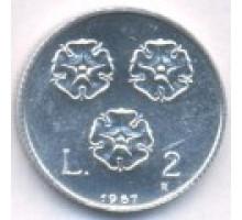 Сан-Марино 2 лиры 1987. 15 лет возобновлению чеканке монет