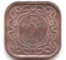 Суринам 5 центов 1987-2015