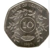 Уганда 10 шиллингов 1987