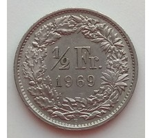 Швейцария 1/2 франка 1968-2017