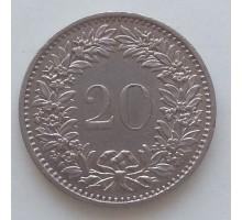 Швейцария 20 раппен 1968-2017