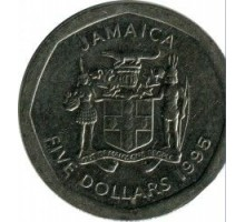 Ямайка 5 долларов 1994-2018