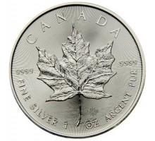Канада 5 долларов 2016. Кленовый лист. Серебро