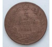 Италия 5 чентезимо 1861