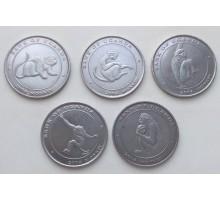 Уганда 100 шиллингов 2004. Обезьяны. Набор 6 шт.