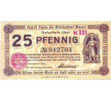 Германия 25 пфеннигов 1920 Кельн Нотгельд