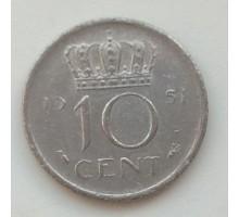 Нидерланды 10 центов 1951