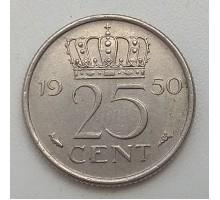 Нидерланды 25 центов 1950