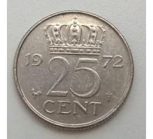 Нидерланды 25 центов 1972