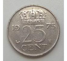 Нидерланды 25 центов 1973