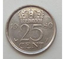 Нидерланды 25 центов 1980