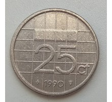 Нидерланды 25 центов 1990