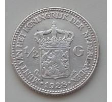Нидерланды 1/2 гульдена 1928 серебро