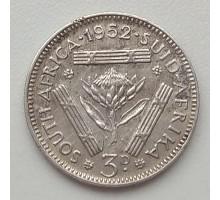 ЮАР 3 пенса 1952 серебро