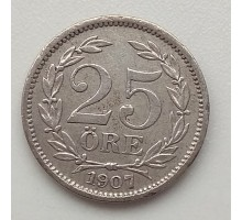 Швеция 25 эре 1907 серебро