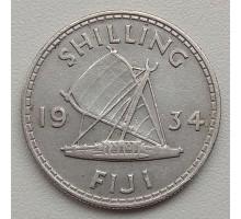 Фиджи 1 шиллинг 1934 серебро