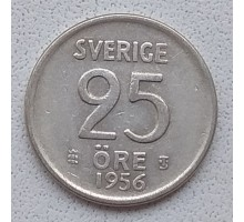 Швеция 25 эре 1956 серебро