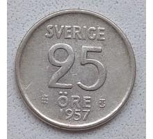 Швеция 25 эре 1957 серебро