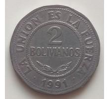 Боливия 2 боливиано 1991