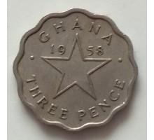 Гана 3 пенса 1958