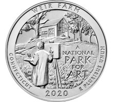 США 25 центов 2020. 52-й парк. Ферма Дж. А. Вейра, Коннектикут