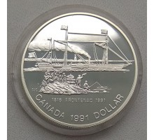 """Канада 1 доллар 1991. 175 лет пароходу """"Фронтенак"""" серебро"""