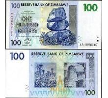 Зимбабве 100 долларов 2007