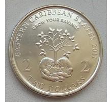 Восточные Карибы 2 доллара 2011. 10 лет Финансовому Месяцу