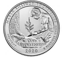 США 25 центов 2020. 54-й парк. Исторический парк Марш-Биллингс-Рокфеллер