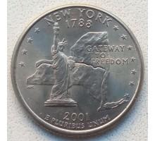 США 25 центов 2001. Штаты и территории. Нью-Йорк