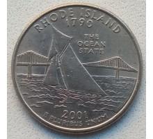 США 25 центов 2001. Штаты и территории. Род-Айленд