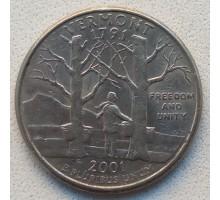 США 25 центов 2001. Штаты и территории. Вермонт
