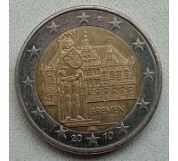 Германия 2 евро 2010. Городская ратуша и Роланд, Бремен