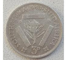 ЮАР 3 пенса 1943 серебро