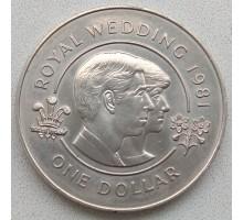 Бермуды 1 доллар 1981. Свадьба принца Чарльза и леди Дианы