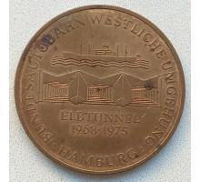 Жетон-медаль Германия, Гамбург. Строительство канала на Эльбе 1968-1975 (047)