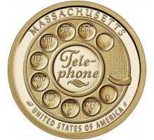 США 1 доллар 2020. Американские Инновации. Телефон Массачусетс
