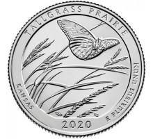 США 25 центов 2020. 55-й парк. Национальный заказник Таллграсс Прейри