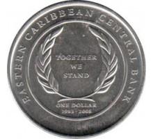 Восточные Карибы 1 доллар 2008. 25 лет Восточно-Карибскому Центральному банку